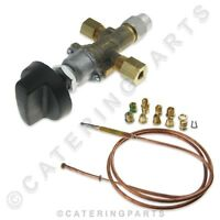 UNIVERSAL 6mm PIPE HIGH LOW GAS VALVE LPG PROPANE LP WITH UNIVERSAL THERMOCOUPLE