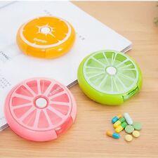 Cute Rotary Round Pill Box Dispenser Kids Candy Gum Storage Case 7 Days Travel