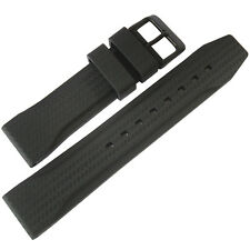 22mm Bonetto Cinturini 324 Black PVD BUCKLE Rubber Carbon Fiber Watch Band Strap