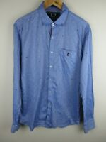 Louis Philippe Mens Shirt Size L Long Sleeve Button Up Slim Fit Dot Adult