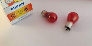 2 X Philips Bulbs PR21/5W 12V 21/5W BAW15d Red 12495 12495CP 2-Phasen Lamp