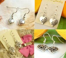 HOT Wholesale Lady 4Pair/lot Charm Fashion Jewelry Silver Mix Love Stud Earring