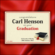 2 Personalised Wine / Champagne Bottle Labels - University Graduation Day Gift