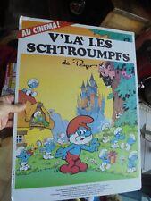 Ancienne Affiche Cinéma V'LA LES SCHTROUMPF S 1984 sur panneau Polystirène