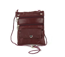 "Burgundy Li Leather Neck Purse with String 7"" x 5.5"" with Zipper Pockets C-13"