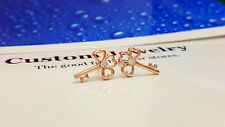 Shiny 14K/14ct Rose Gold Plated Cute 3 Heart Leaf Key Crystal Stud Earrings Gift
