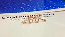 Shiny 14K/14ct Rose Gold Plated Cute 3 Heart Leaf Key Crystal Stud Earrings Gift