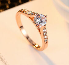 Women Size 6-9 Party Stainless Steel Wedding Ring Titanium Engagement 2 Colors Rose Gold 9