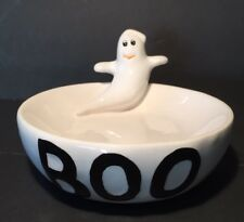 """Halloween BOO Ghost 3D Soap Trinket Dish 5"""" GAC White and Black"""