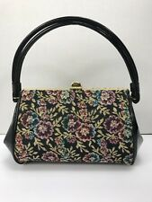 Vintage Framed Tapestry Patent Leather Purse Bag Brass Feet Excellent Condition