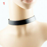Punk Gothic Black Leather Choker Heart Chain Spike Rivet Buckle Collar Necklace