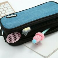 Student Pencil Case Large Capacity Canvas Pen Bag Cosmetic School Supplies Blue