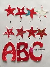 One fabric Iron On Letters / Personalised Birthday Mother's Day Bunting Red