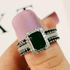 Halo Engagement Best Ring 14K White Gold Trio Set 3Ct Emerald Cut Black Diamond