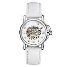 WINNER Fashion Leather Skeleton Women Automatic Mechanical Wrist Watch C4M8