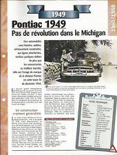 VOITURE PONTIAC CHIEFTAIN EIGHT FICHE TECHNIQUE AUTO 1949 COLLECTION CAR