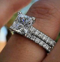 2.66Ct Princess cut Solitaire Diamond Engagement Ring Band Solid 14K White Gold