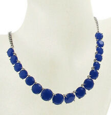 Fossil Brand Silver Tone Blue Glass Stone Drama Collar Chain Necklace $68 NEW