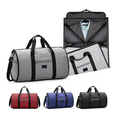 2 In 1 Hanging Suit Travel Bag with Shoulder Strap Oxford Leather Garment Bags