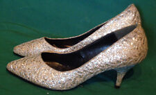 Vintage Silver Glitter Metallic Lace High Heel Shoes Mc Lady 6 B