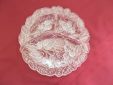 Vintage Clear Pressed Glass Divided Serving Dish-3 sections- Blackberry Pattern
