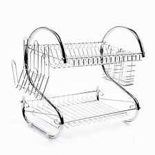 HOT2Tiers Chrome Kitchen Drip Dish Drainer Plates Cutlery Rack+Glass Mugs H