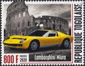 LAMBORGHINI MIURA (Colosseum Rome) Classic Sports Car Stamp (2020 Togo)