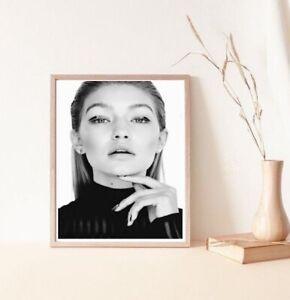 Wall print art A4 Gigi hadid model poster face portrait black white fashion