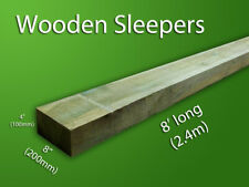 Natural Colour Treated Timber Garden Railway Sleepers 200x100 2.4m