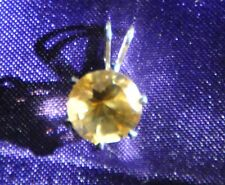 7MM-HANDCRAFTED ROUND LEMON CITRINE PENDANT .925 STERLING SILVER-1.0 CTW