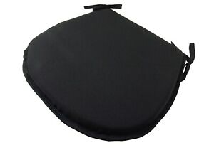 Simply Black D-Shaped Garden/Patio/Kitchen/Dining Tie-On seat pads *3 Sizes*