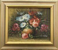 Blumen Stillleben signiert Ölgemälde auf Leinwand 30 x 35 cm