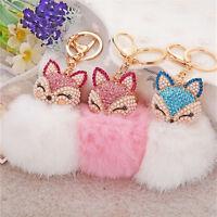 Fox Keyring KeyChain Pearl Rhinestone Ball PomPom Key Ring Chain Bag Pendant TO