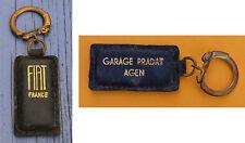 Porte-clé années 1970 cuir noir Fiat Garage Pradat, Agen