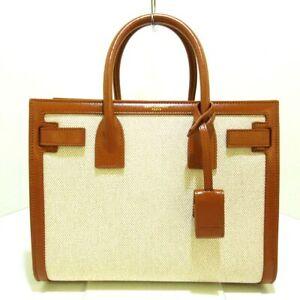 Auth SAINT LAURENT PARIS Baby Sac De Jour 400631 Cream Canvas Leather Handbag