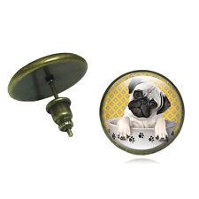 Lovely Pair Of  Bronze Cute Pug Dog In Stud Earrings. In Organza Gift Bag