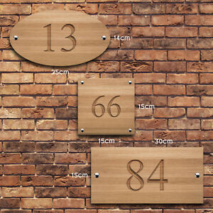 Personalised House Sign, V Carved, Custom Engraved Front Door Wood Number Plaque