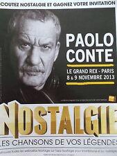 PUBLICITE RADIO  NOSTALGIE   PAOLO CONTE EN 2013   REF 8287