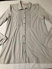 J. Jill Bib Front Jersey Shirt Button Front Cotton Gray Long Sleeve Medium