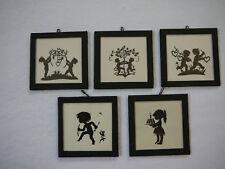 5 alte kleine Glas Scherenschnittbilder Scherenschnitt Bilder Bild Puppenstube