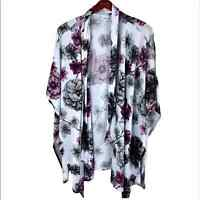 Lularoe Purple and White Floral Kimono Size S/M women's open cardigan