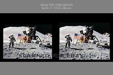 NASA moon Apollo 15 American Flag 3d Stereoview inspirational image photo print