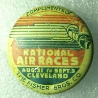 Vintage Cleveland National Air Races Tin Litho Pinback Button Fisher Bros 1934