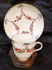 Antique 18thC Ludwigsburg Floral Garland blue bow teacup & Saucer Porcelain Rare