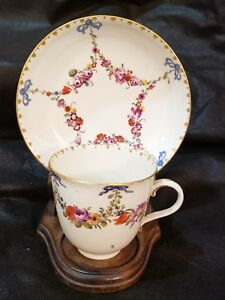 Antique 18thC Ludwigsburg Floral Garland blue bow teacup & Saucer Porcelain Rare