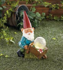"Vibrant Detailed Grandpa Gardener Gnome with Wheel Barrow Lightup Orb 11.8"" tall"