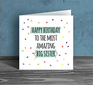 BIRTHDAY CARD to the most amazing big little sister sibling from brother H104