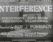 INTERFERENCE (DVD) - 1928 - William Powell, Evelyn Brent