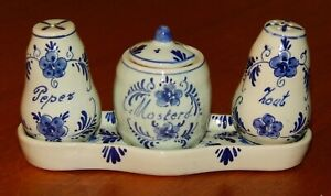 VINTAGE DELFT HOLLAND BLUE AND WHITE CONDIMENT SET MUSTARD SALT & PEPPER TRAY