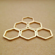 20pcs 18k Gold Plated Geometric Honeycomb / Hexagonal Link Charms for Minimalism